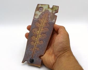Incense Burner with a Dandelion leaf imprint, Hand Made Pottery, Unique Gift 2