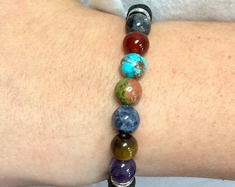 7 Chakra Stretch Bracelet With Lava Stones For Essential Oils Great Gift Under 20 STR-1