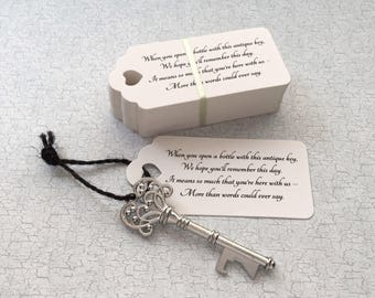 "Skeleton Key BOTTLE OPENERS + ""Poem"" Thank-You Tags – Wedding Favors set of 50 - Ships from United States - Antique Silver"