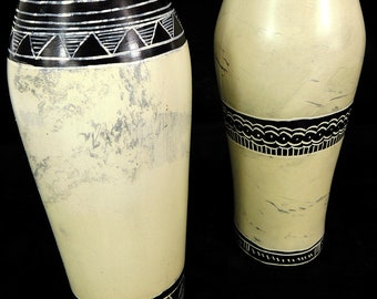 2 Stone Vases White Kisii Kenya Africa 103476