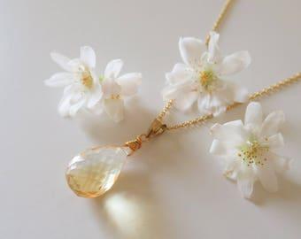 Stunning Citrine Briolette Necklace | Citrine Briolette Necklace | Citrine Necklace | November Birthstone Necklace | Citrine Pendant | Gift
