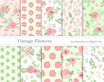 "Floral Digital Paper ""VINTAGE FLOWERS""  Pink Papers, Garden Papers, Flowers Digital Papers, Roses Digital Papers, Spring Digital Papers"