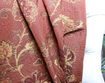 Rust Floral Upholstery Fabric, Sewing, Home Decor