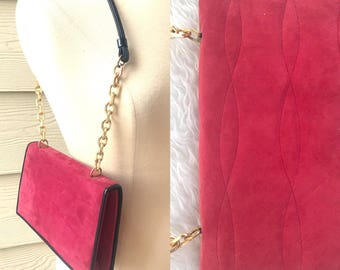 REDUCED PRICE Quilted Leather Shoulder Purse, Chain Strap, Black Patent, Suede Bag, Cranberry