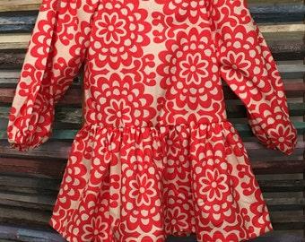 Girls dress, Girls Easter dress, Girls peasant dress, Girls cherry red dress, Girls fall or winter dress, Girls Birthday dress, Size 3, #120