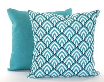 OUTDOOR  Pillow Covers Navy Aqua Pillows Throw Pillow Cushion Cover Navy Blue Aqua White Lalo Jackson Patio Sunroom Set of Two Various Sizes