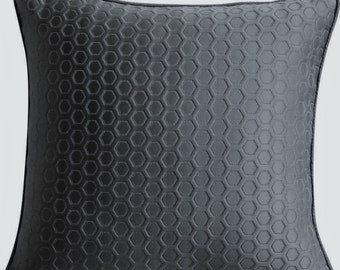 Charcoal Grey Decorative Throw Pillow Covers, Accent Pillow Jacquard Pillow Case, 16x16 Grey Textured Pillow Cover - Charcoal Grey Beehive