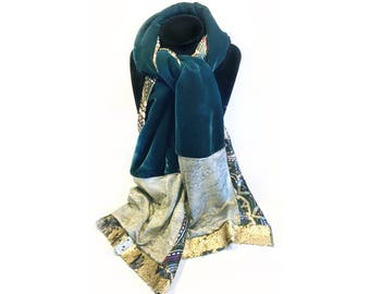 Emerald Green Patchwork scarf & gold