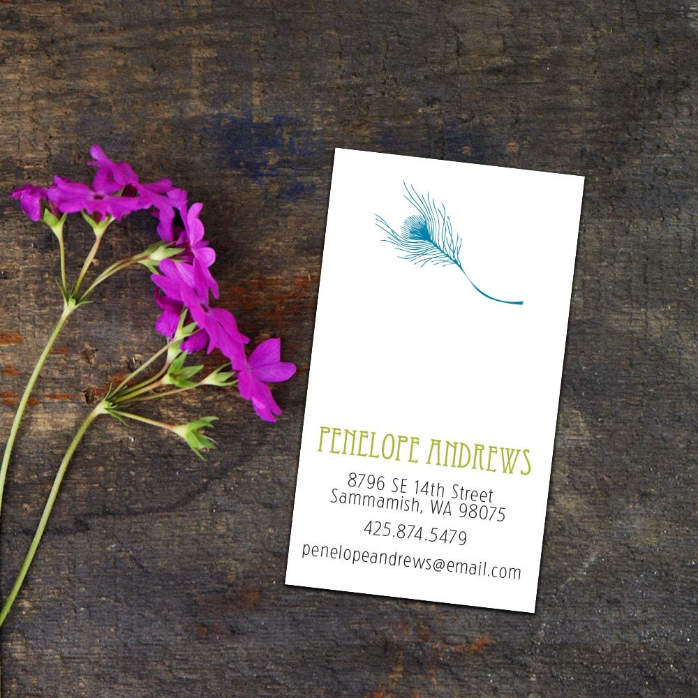 Fancy Feather Calling Card/Business Cards, Set of 50 or 100 Business ...