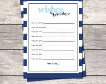 wishes for baby, baby boy shower, instant download, oh boy blue stripes, printable file