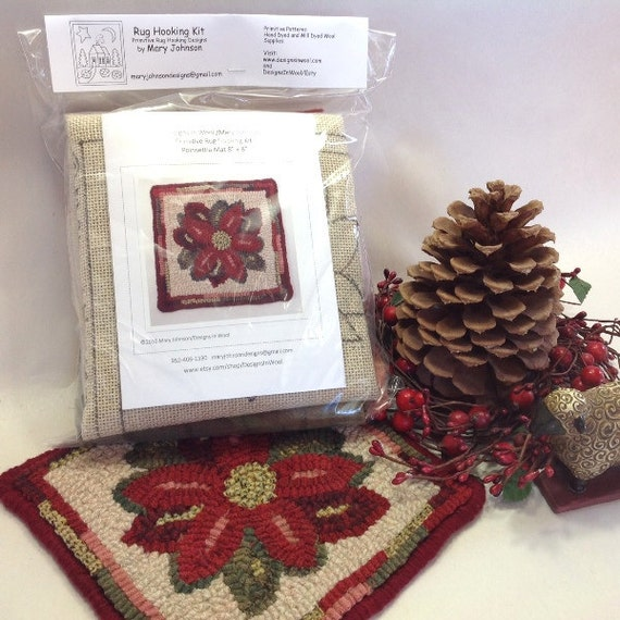 "Rug Hooking KIT, ""Poinsettia Mat"", 8"" x 8"", K108, DIY Rug Hooking Kit, Christmas Rug Mat Kit, Tea Trivet"