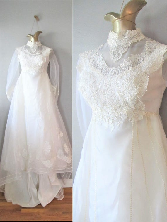 Vintage 1960\'s Off-White Wedding Gown / 60s 70s Victorian