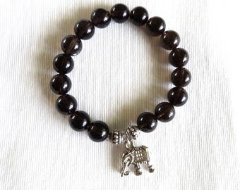 Elephant Charm Bracelet with Black Onyx Natural Stone Beads, Elephant Jewelry, Elephant Bracelet, Black Onyx Bracelet