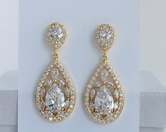 Gold Cubic Zirconia Earrings Gold Teardrop Bridal Earrings Gold Wedding Earrings Gold Bridal Earrings Gold Bridesmaid Jewelry Gold Jewelry