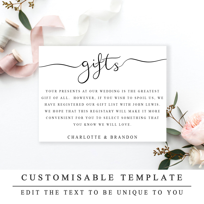 Printable Wedding Gift Registry Template Wedding Insert