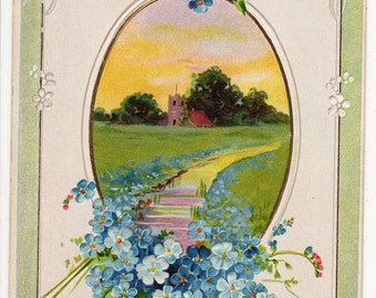 FORGET ME NOTS and Church, Vintage Embossed Postcard, Greetings with Smiles, c1910, E Nash