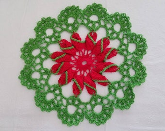 Red and Green Pinwheel Doilie