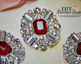 Large RED Rhinestone Buttons Red Crystal Buttons Flatback Embellishment For Shoe Clips Invitations Bows flower centers 3pc 25x28mm 701045