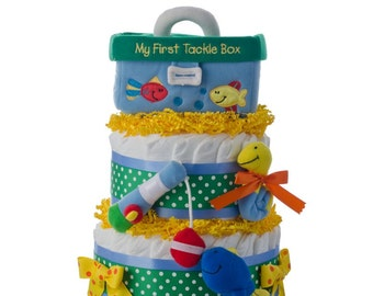 First Tackle Box Diaper Cake by Lil' Baby Cakes