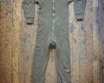 Vintage 1930s green wool underwear with butt flap by Medlicott - Morgan
