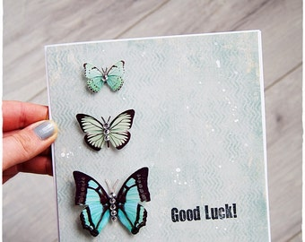 Good Luck Card, Classic Card with rhinestones, Simple Card, Handmade Card, Handrafted, Butterfly, teal colour, blank 6x6 card