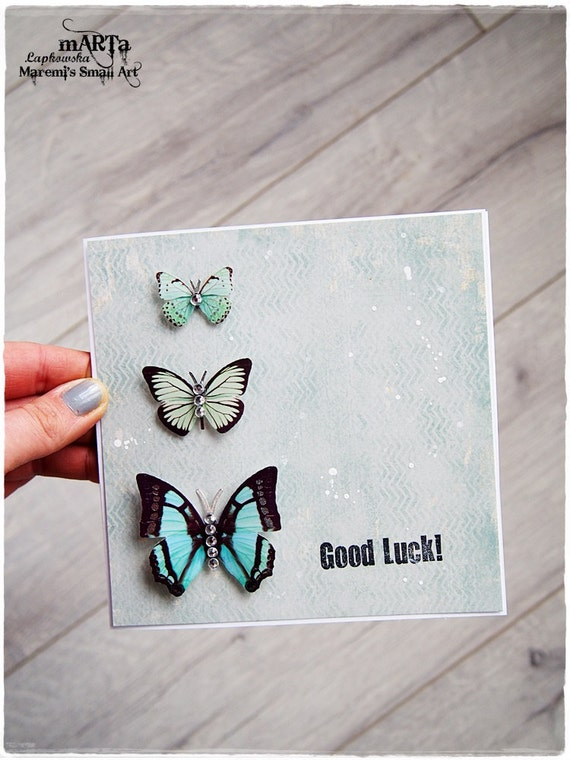 Items similar to Good Luck Card, Clic Card with rhinestones ...