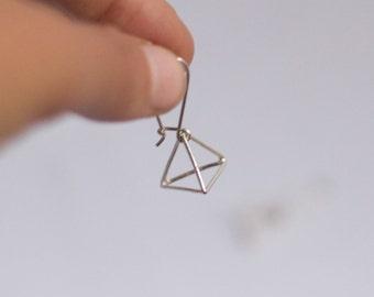 3D Triangle Earrings Silver Geometric Dangle Earrings Sterling Silver Dangle Pyramid earrings unique silver earrings geometric earrings