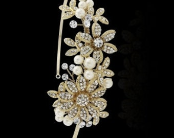 SCARLETT - 14K Gold Pearl Flower Hair Piece