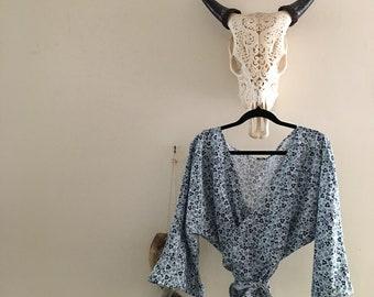 Women's Cotton Wrap Top Blouse.Size 8 to 14.