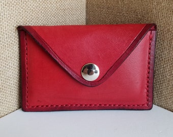 Handmade Red Leather Card Holder - Business Card Holder - Small Wallet