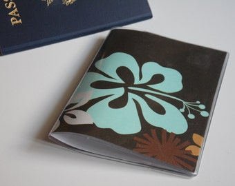 Passport Cover, Brown Hibiscus Flowers, Passport  Sleeve, Case, Holder