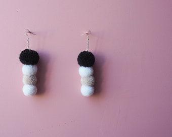 READY TO SHIP Monochrome 4 Tiered Pom Pom Earrings