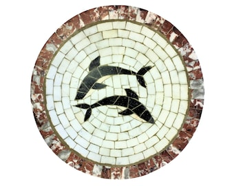 Heide Mosaic Denmark Stone Tile Bowl Whale Dolphin 9.5 In Round Mid Century MCM