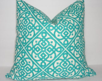 Decorative Pillow Cover Teal/Ivory Geometric Pillow Cover Throw Pillow Cover Size 18x18