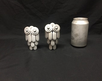 Upcycled metal small owl sculpture art
