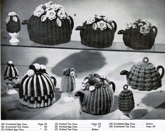 Tea and Egg Cosy Knit and Crochet Patterns PDF / Floral tea cozy / Crochet egg cosy / Crochet tea cozies /