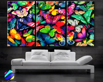 """LARGE 30""""x 60"""" 3 Panels Art Canvas Print beautiful Butterflies Butterfly colors Wall home Decor interior (Included framed 1.5"""" depth)"""