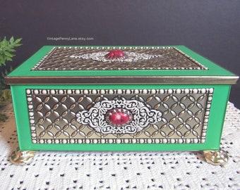 Ausgefallene Vintage Zinn, Metall Schmuckkästchen, Boho Böhmische Dekor