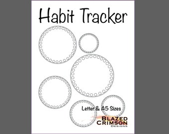 Circle Habit Tracker Bullet Journal - Planner Pages - Letter & A5 Sheets Included PDF - 31 days