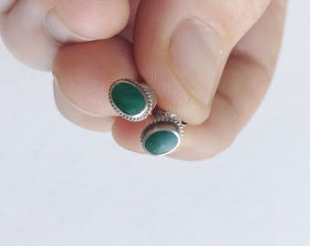 Vintage Sterling Silver Malachite Stud Earrings