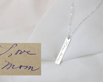 Necklace for Mom // Hand written note necklace // Special Mother's day gift, Memorial gift // Name bar necklace // Custom handwritting