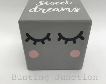 Sleepy eyes wooden nursery bedroom decor blocks