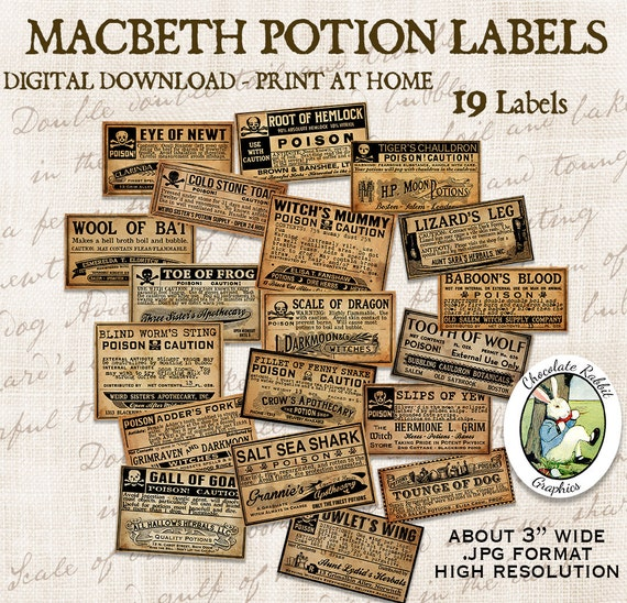Macbeth Witch Halloween Vintage Poison Potion Apothecary Bottle