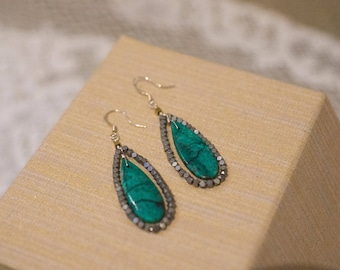 Silver and Turquoise Earrings, Gunmetal Gray and Turquoise Teardrop Dangle Earrings