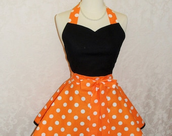 Flirty Chic Sweetheart Apron for Halloween in Orange and White Polka Dots Flirty Women's Kitchen Apron Fall Apron - Ready to Ship