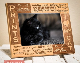 Personalized Cat Picture Frame Engraved on Wood-I Love My Cat Picture Frame-Color of Your Choice
