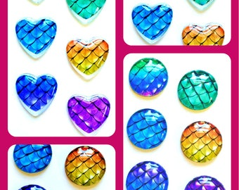 Mermaid Magnets - Mermaid Scale Magnet - Free U.S. Shipping - Mermaid Party Favor - Mermaid Wedding - 1 inch Glass Circles or Hearts