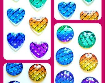 Mermaid Magnets - Mermaid Scale Magnet - Free U.S. Shipping - Mermaid Party Favor - Mermaid Wedding - 1 inch Glass Circles or Hearts