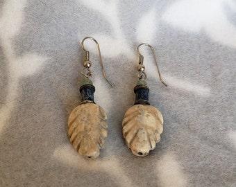 Handmade Stone Feather Bead Earrings