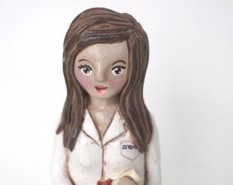 Custom Woman clay portrait folk art sculpture
